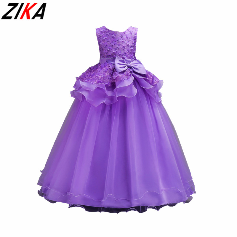 ZIKA Lace Formal Evening Wedding Gown Princess Dress 5-16T Bow Soild Girls Children Clothing Kids Party Dress for Girl Clothes <br>