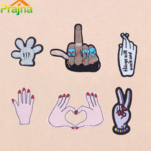 ZOTOONE 1Pcs Cool Letter Funny Finger Heart Patch Embroidery Cute Logo Iron On Patches For Clothing Girl Stickers Sequin Patch(China)