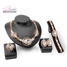 Fashionable women Luxury suite Rose gold color Holiday gifts African Beads cheap price Necklace Earrings Bracelet Set