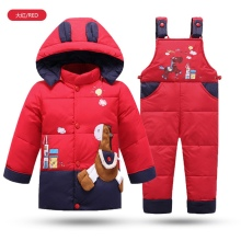 Warm Winter Children clothing sets Russia baby Girl Ski suit sets Boy's Outdoor sport Kids down coats Jackets+trousers/Jumpsuit