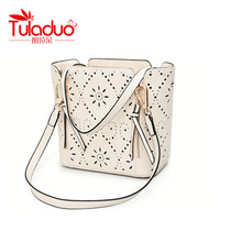Famous  Brand Design Fashion Pu Leather Hollow Womens Bag Handbags Shoulder Bag Messenger Tote Bag  White Pink Zipper  Crossbody