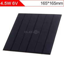 ELEGEEK 4.5W 6V 165*165mm Monocrystalline PET + EVA Laminated 750mAh DIY Solar Cell Mini Solar Panel for Test and Education