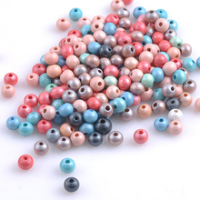 Natural Wooden beads 2017 new Round Ball Spacer Beads For Jewelry Making 8mm 150Pcs Mixed Color DIY MT0775X