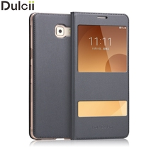 Dulcii Cover for Samsung Galaxy C 9 Pro Phone Cases Double Window Leather Mobile Phone Case for Samsung Galaxy C9 Pro Bag(China)