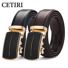 Buy CETIRI high cowhide genuine leather belt men jeans black brown luxury designer brand automatic buckle belt strap for $9.90 in AliExpress store