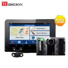 "7"" Car dvr Android gps navigation dvr camera Car rear view camera Radar Detector FHD 1080P G-Sensor with gps 16GB Free map(China)"