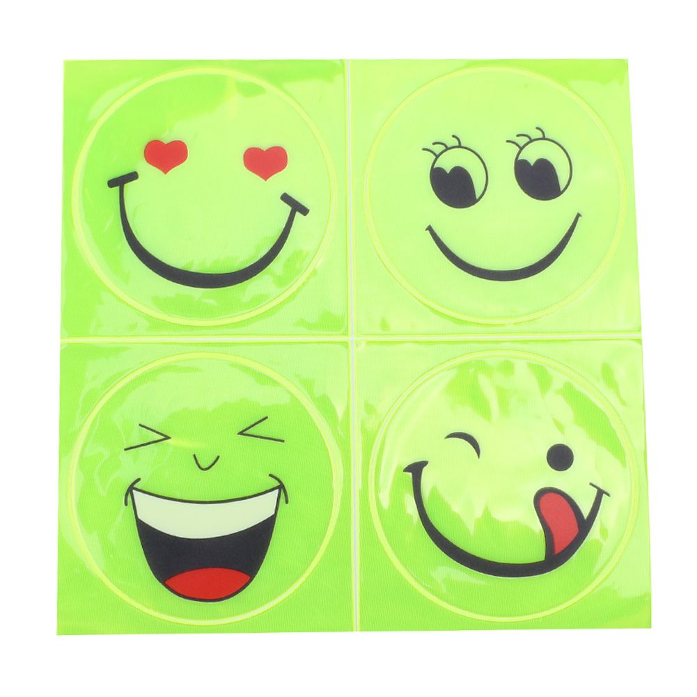 2Pcs Bicycle Sticker MTB Road Bike Motorcycle Backpack Safety Reflective Sticker Cute Smiling Face Pattern Cycling Protective