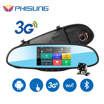 5.0in Touch 3G Wireless Car DVR Android 5.0 GPS Navigation Bluetooth Dual Lens dash cam rearview mirror camera dvr full hd 1080p