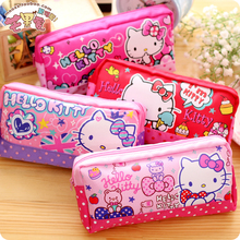 Kawaii Cartoon Hello Kitty Canvas Cosmetic Case Zipper Phone Headset Storage Bag Sac a Main For Children Christmas gifts(China)