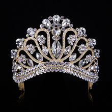 Gold Silver Crystal Rhinestone Royal Princess Wedding Bridal Pageant Prom Tiara Crown Gilr Women Tiaras Croowns T-042(China)