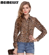 2017 Leopard Women Clothing Chiffon Shirt Loose Plus Size Long Sleeve Fashion Shirts Casual Turn-down Collar Full length Tops(China)
