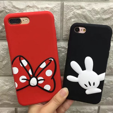 Cute 3D Cartoon Bow palms Minnie Mickey Mouse Soft Silicone Case For Apple iPhone 6 6s 6S Plus 7 7 Plus black red Back Cover
