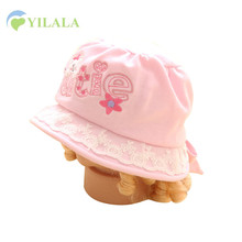 Lace Baby Girls Hat Cute Cat Baby Cotton Cap Infant Solid Letter Sun Hats Girls Flower Bowknot Bucket Hat Baby Girls Clothing