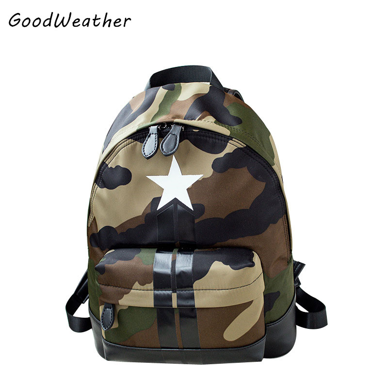 2017New designer cloth with leather backpack  fashion camouflage five star school bags zipper travel backpacks for men and women<br><br>Aliexpress