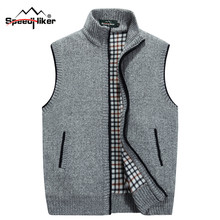 Speed Hiker 2017 New Arrival Sweater Men Cardigan Vests Wool Vest Knitted Flocking Mens Cardigans Sleeveless Size XXXL CC-K1611