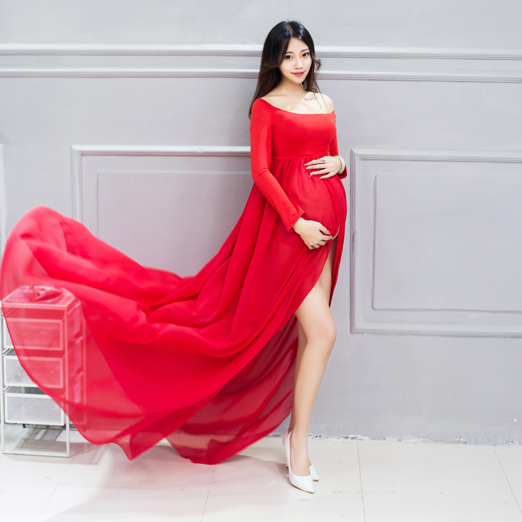 2017 Maternity Maxi Long sleeve dresses Photography Props Pregnant Women Chiffon fashion Dresses Pregnancy Photo Shoot elegant<br>