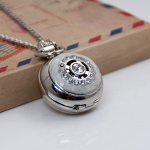 Fashion Woman Lady Silver Ball Antique Steampunk Pocket Watch Necklace Watches