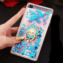 For Huawei P8 Lite / P8 Case Dynamic Liquid Glitter Sand Quicksand Star Crystal Clear case cover
