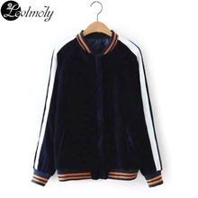 New European Style Women's Jackets High Quality Velour Zipper Base Ball Jacket And Coat Chaquetas De Femininos YC12796