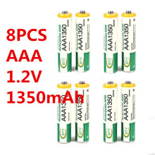 Free shipping 8PCS cheap BTY AAA 1.2V 1350mA/h Ni-MH Rechargeable Battery for Protable Games, CD Players, Car toys, Flashlight