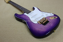 Custom Shop exclusive st electric guitar purple color circle tiger striped maple cover elm body Double lock tremolo system