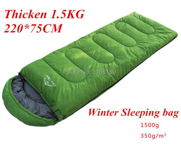 220*75cm winter hooded sleeping bag thickening thermal hiking army green tent bag sac de couchage 1.5kg Camping equipment<br>