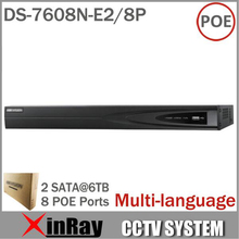 DS-7608N-E2/8P Network NVR with 8CH& 8POE HD 5MP for IP Camera Network Video Recorder Multi-language 2SATA for HDD