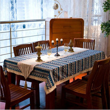 Bohemian style quality cotton &linen lacework dining tablecloth multi functional table cloth for party picnic outdoor use