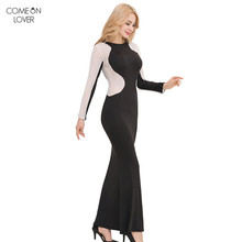 Comeonlover Cheap Clothes China Long Seeve Muslim Dress Womens Clothing Elegant Dresses for Women RT80331 Patchwork Black Dress(China)