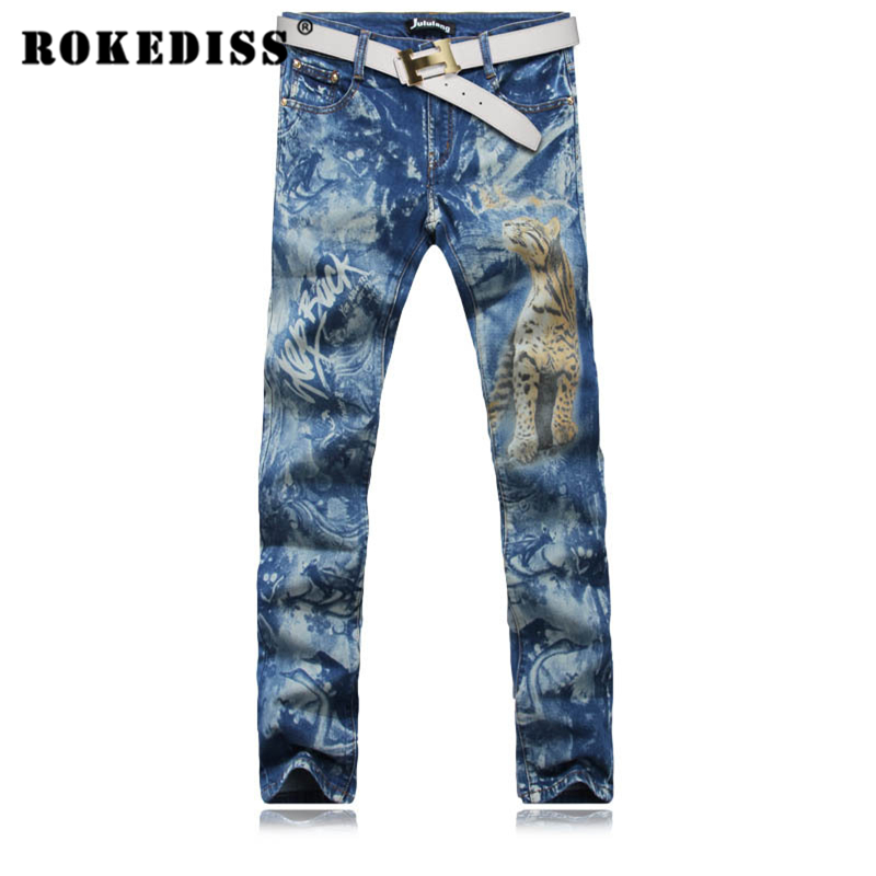 Youth Mens Fashion Colored Drawing Tiger Print Jeans Male Casual Slim Denim Pants Long Trousers 3D Printed Jeans For Men G212Одежда и ак�е��уары<br><br><br>Aliexpress
