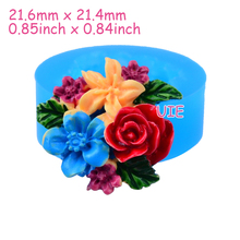 HYL070U 21.6mm Colourful Flowers Silicone Push Mold - Rose Mold Fondant Cake Decoration, Scrapbooking, Gum Paste, Resin Jewelry