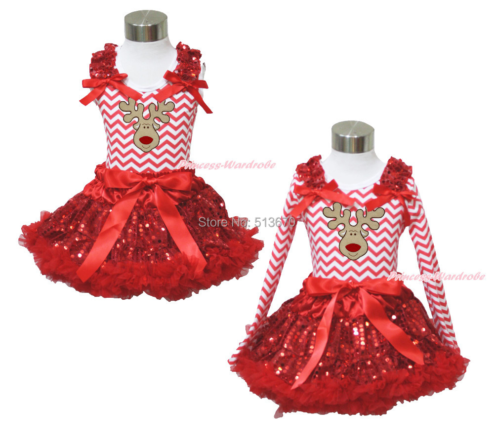 XMAS Reindeer Red White Chevron Top Sparkle Sequins Pettiskirt Girl Outfit 1-8Y MAPSA0093<br>