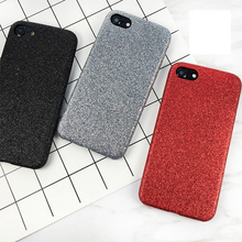 LOVECOM Phone Case For iPhone 6 6S 7 Plus New China Red Solid Color Glitter Powder Soft Phone Back Cover Cases