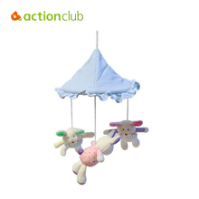 Actionclub Cartoon lovely rabbit sky blue umbrella baby toy educational music mobile in cot rotate stroller rattle wholesale(China)