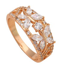 Amazing Party Punk Gold color Health Jewelry Nickel & Lead Free White Zircon Element Ring Sz #5.5 #7 #7.5 JR1635A(China)