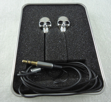 LINGWUZHE Unique Design Metal Skull 3.5mm In-ear Stereo Bass Earphone High Performance Earpiece Wire(China)