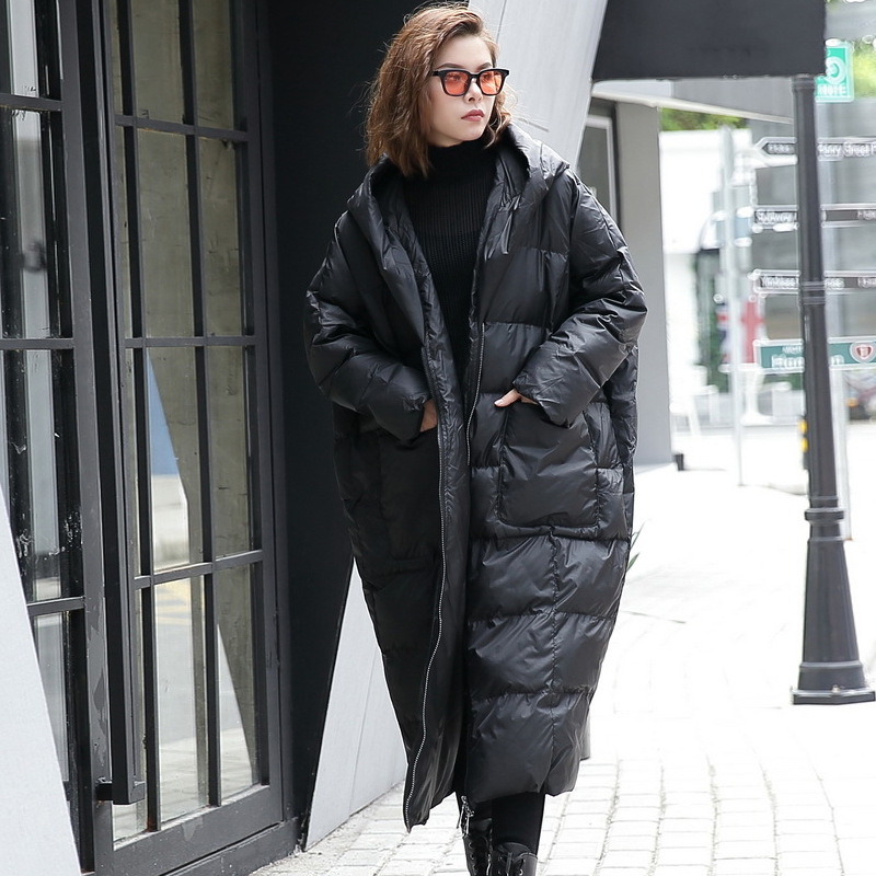 Winter jacket women plus size X-Long Thicken Bat Sleeved loose hooded cotton clothes puffer jacket Winter female coat parka