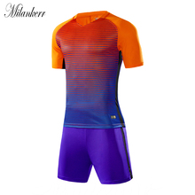 Blank Soccer Jersey Sets for Men Short Sleeve Training Shirts+Shorts Football Jerseys Athletic Wear Running Quick-dry Sport Suit(China)