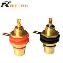 1pair Gold plated RCA Jack Connector Panel Mount Chassis Audio Socket Plug Bulkhead with NUT Solder CUP Wholesale 2pcs