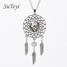 SUTEYI Hot Selling Steampunk Glass Choker Dream Catcher Necklace Various Skeleton Image Skull Head Statement Necklaces Jewelry(China)