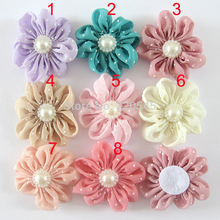 beaded pearl center chiffon fabric flowers DIY crafts flat back polka dot hair flower without clip,making headbands