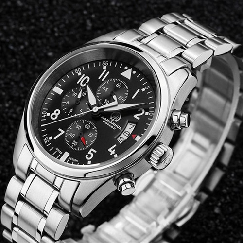 Chronograph stop watch waterproof military running sports luxury brand mens quartz watches full steel leather strap montre homme<br><br>Aliexpress