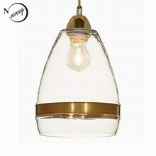 Clear antique gold glass pendant lamp For Kitchen Lights Cabinet Living dining room Edison Simple Glass Pendant Light Fixture(China)