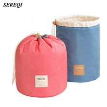 SEREQI High Capacity Travel Cosmetic Storage Bag Round Barrel Shaped Drawstring Makeup Storage Bag Case Organizers(China)