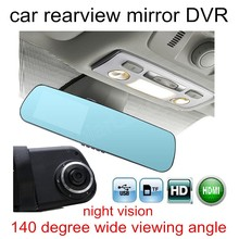 hot sale HD 4.3 inch Dual Lens Video Recorder Dash Cam Rearview Mirror Car DVR digital camcorder 140 degree wide viewing angle
