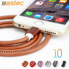 For IPhone Cable IOS 10 9 Bastec 2.1A Fast Charging 1m 1.5m 3m Leather Wire Usb Charger Cable For iPhone 7 i6 iPhone 6 6s Cable