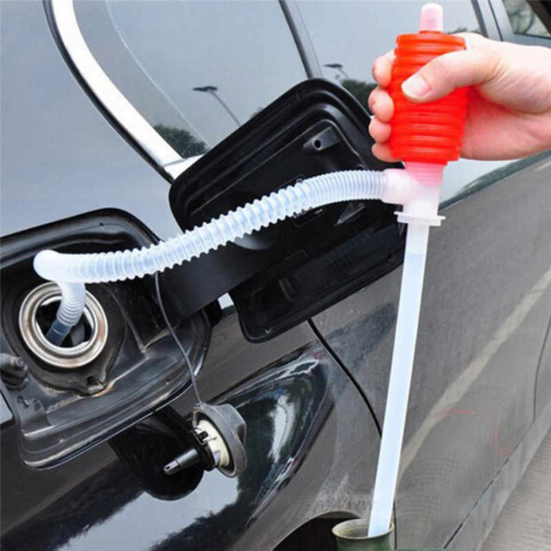 New Portable Car Manual Hand Siphon Pump Hose Gas Oil Transfer Pump Plastic