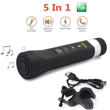 5 in 1 Bluetooth Speaker FM Radio Power Bank Flashlight Torch Phone Answer with Bike Clip Outdoor Cycling Sports Music Player