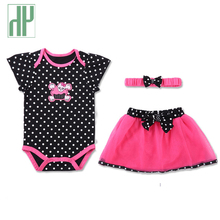 HH Baby girl clothes summer newborn infant clothing Set Baby Girl Sets Romper+Skirt+Headband baby tracksuit birthday outfits