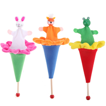 Animals Rabbits Fox Frog Cartoon Toy Retractable Hide & Seek Kids Funny Toy Bright Color Wood and Cloth Kids Animals Toys